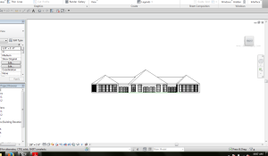 initial revit model, hip roof is not appropriate.