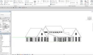 Perspective view with alternative shed roof on porch.  Massing seems to great for the porch.